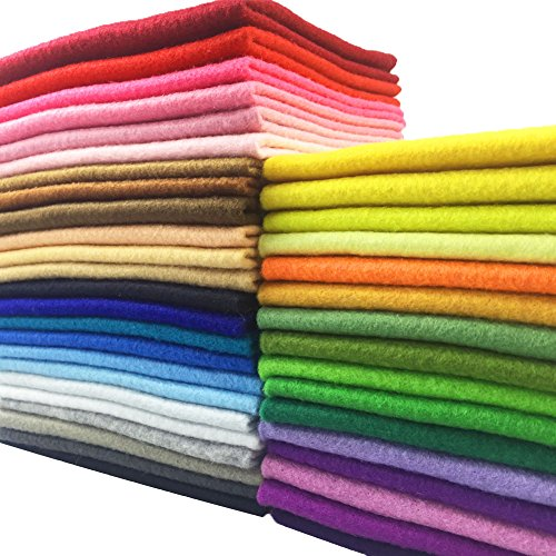 - Soft Felt Fabric Squares Sheets, 40 Assorted Candy Colors for Craft, Nonwoven Patchwork Sheet Pack 40pcs 12