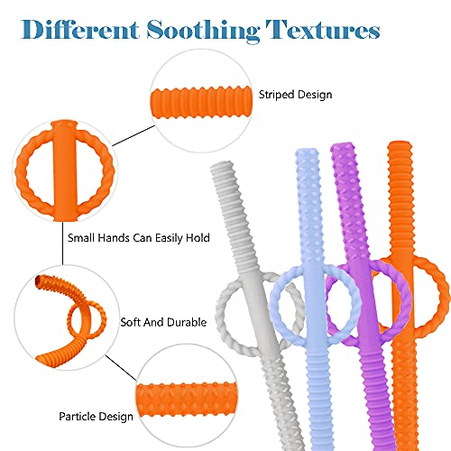 INTATIKOO Hollow Teething Tubes for Babies, Flexible Baby Teether Tubes for Toddlers, Safe Silicone Teething Straws for Infants,Handle and Hollow Design Prevent Choking,Pink,Blue,Orange