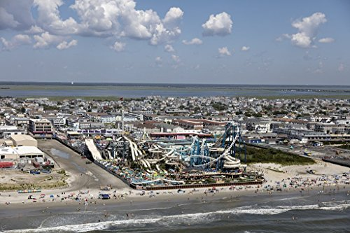 historic pictoric Photograph| Beaches, boardwalk and amusement parks on the New Jersey shore in Wildwood, New Jersey 1 Fine Art Photo Reproduction 66in x 44in -