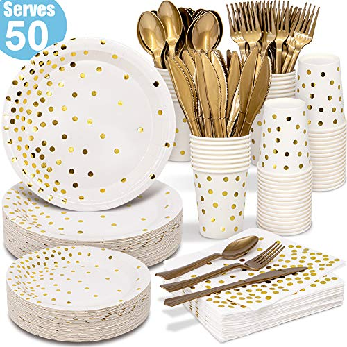 White and Gold Party Supplies 350PCS Disposable Dinnerware Set – White Paper Dinner/Dessert Plates Napkins Cups, Gold…