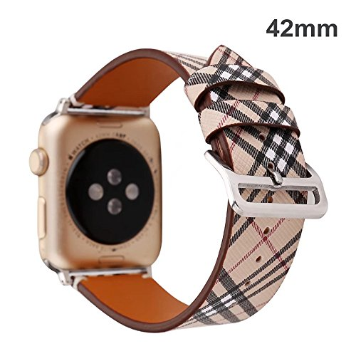 TCSHOW for Apple Watch Band 42mm,42mm Soft PU Leather Pastoral/Rural Style Replacement Strap Wrist Band with Silver Metal Adapter for Apple Watch Series 3/2/1(Not for Apple Watch 38mm) (Z8) by MeShow
