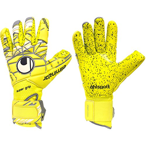 Surround Goalkeeper Glove (Mens Uhlsport ELIMINATOR SUPERGRIP Finger Surround 10.5 Goalkeeper Gloves Yellow For Soccer)