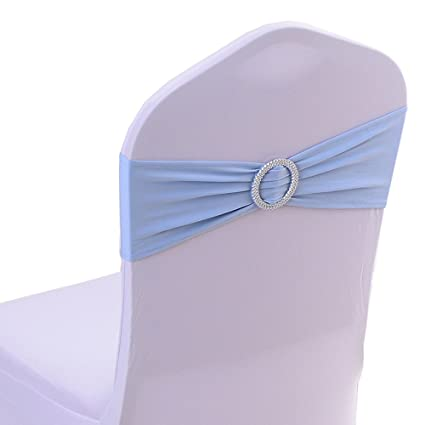 Elegant Spandex Chair Cover Stretch Band With Buckle Slider Sashes Bow Wedding  Banquet Decoration 10PCS (Light