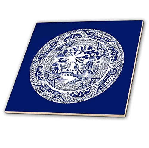 3dRose Willow Pattern in Delft Blue and White - Ceramic Tile, 6-inch (ct_220439_2)