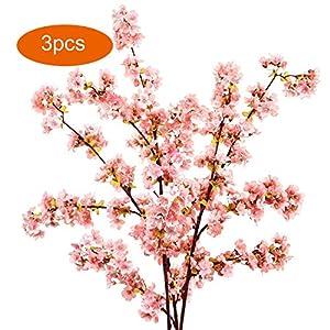 DecoForU 3 PCS 31 Inch Artificial Cherry Blossom Branches Flowers Silk Peach Flowers Arrangements for Home Wedding Decoration (Pink) 8