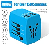 Travel Adapter, 2000W International Power Adapter, All in One...