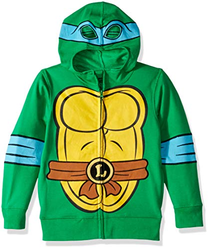 Teenage Mutant Ninja Turtles Boys' Little Leonardo Reptilian Costume Zip Up Hoodie with Mask, Green M (Ninja Turtles Movie Mask)