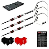 Red Dragon Evos: 28g - 90% Tungsten Steel Darts with Winmau Rhino White Flights, Shafts, Wallet & Red Dragon Checkout Card