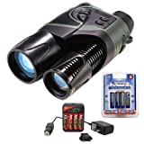 Bushnell Night Vision 5x42 Digital Stealth View Monocular With Infra Red Rangefinder + Mini Charger for AA Ni-Mh and Universal Adapter + 4AA Rechargeable Batteries + Accessory Kit