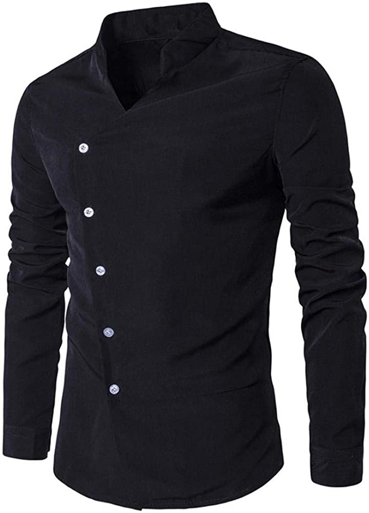 Herrent Shirt Camisa De Hombre Leisure Business Party Camisa Poloshirts Moda Men Nner Business Jersey De Manga Larga Fashion Men Men Camisa De Corte Slim Casual Top Blusa (Navy L2): Amazon.es: Ropa
