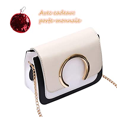 QinMM Sac à Bandoulière Anneau Couture Mode Sac à Main Femme, Princesse Shopping  Sac Fourre cdd822dd8e20