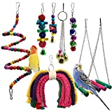 Wonninek Bird Parrot Toys, 7 Packs Bird Swing Chewing Hanging Perches with Bells Finch Toys for Love Birds Howl Budgie Cockatiels Macaws Parakeets Conure Finches Lorikeets and Other Small Medium Birds