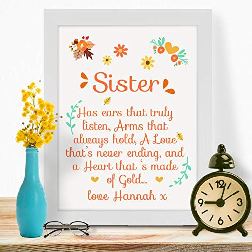 Personalised Presents Gifts for Sisters Bride Colleague Birthday Christmas Xmas Graduation Farewell Party from Brothers Cousins Friends Has Ears Poem Wall Art Home Decor Prints Posters (Farewell Poem For Best Friend)