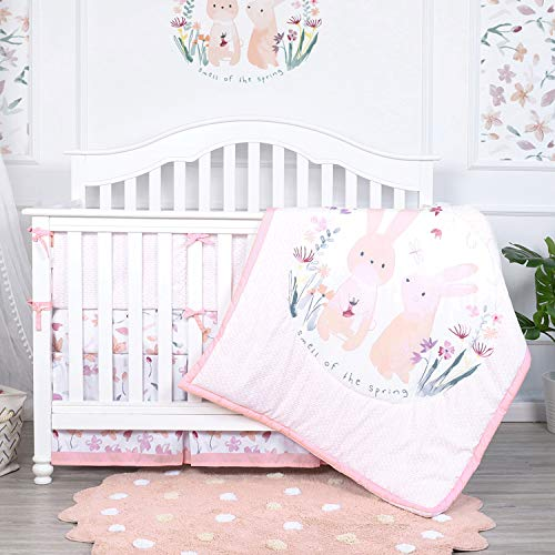 TILLYOU Luxury 5 Pieces Floral Crib Bedding Set (Crib Bumper, Quilt, 2pcs Crib Sheets, Crib Skirt) – Floral & Bunny Printed Nursery Bedding Set for Girls, Pink