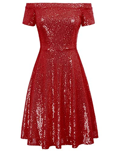 (Women Sequin Off Shoulder Short Sleeve Ruched Clubwear Dress Size XL,Red)