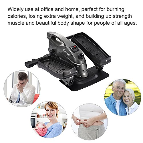 IDEER LIFE Under Desk Stand Up Exercise Bike,Mini Elliptical Trainers Stepper Pedal w Adjustable Resistance and LCD Display,Fitness Exercise Peddler for Home Office Workout