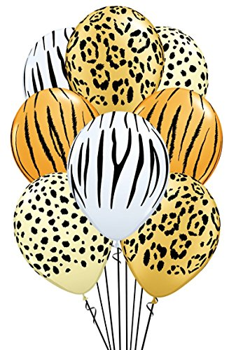 Qualatex Safari Assortment Biodegradable Latex Balloons, 11-Inches (12-Units) -