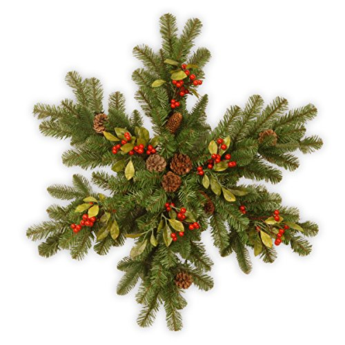 National Tree 30 Inch Decorative Collection Snowflake with Red Berries, Cones, Leaves, and 35 Battery Operated Warm White LED Lights (DC3-184-32SB-6)