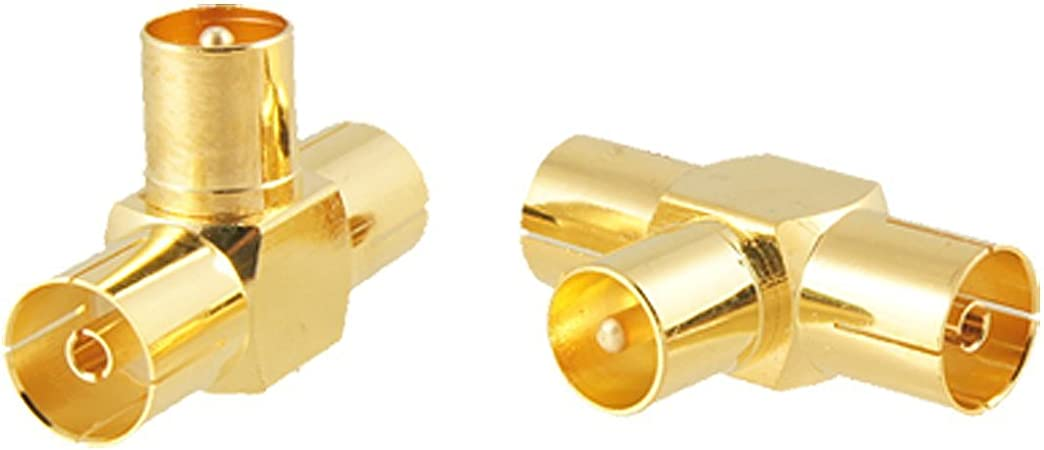 1 macho a 2 hembras adaptador de conector - TOOGOO(R)DVB-T Lote 2 conectores de codo para TV cable de antena 1 macho a 2 hembras T RF adaptador de ...