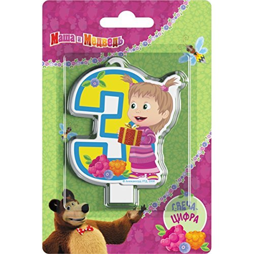Сandle on a Cake Topper 3 Years Masha and the Bear Must Have Accessories for the Party supplies and Birthday Masha y el Oso para niños