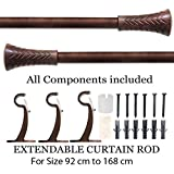 """Deco Essential Wood Taper 36""""-66"""" Extendable Curtain Rod-Brown"""