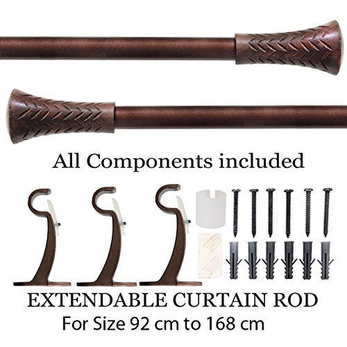 Deco Essential Wood Taper 19mm Extendable Curtain Rod/Drapery Rod-Brown (36-66