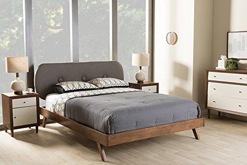 - Baxton Studio Penelope Mid-Century Modern Solid Walnut Wood Grey Fabric Upholstered Full Size Platform Bed