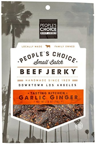 People's Choice Beef Jerky - Tasting Kitchen - Garlic Ginger - Gourmet Handmade Craft Meat Snack - 2.5 Ounce Bag (Pack of 3)