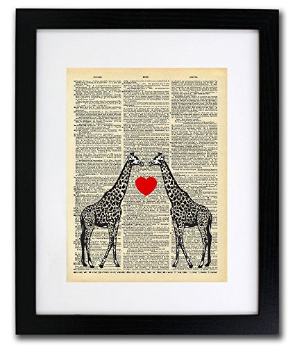 Giraffe Love Dictionary Art Print - Vintage Dictionary Print 8x10 inch Home Vintage Art Wall Art for Home Decor Wall Decorations For Living Room Bedroom Office Ready-to-Frame