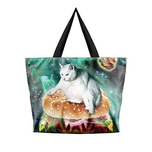 Loveliness Galaxy Starry Hamburger Cat Digital Printing Shoulder Bags Handbags (Hip Hop Dance Costumes For Teenagers)