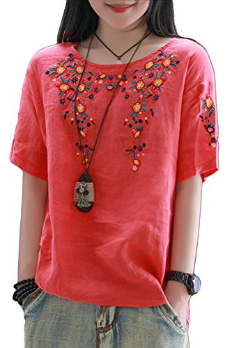 ASHER FASHION Women Summer Cotton Short Sleeve Floral Embroidered Blouse Tops (Red)