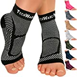 TechWare Pro Ankle Brace Compression Sleeve - Relieves Achilles Tendonitis, Joint Pain. Plantar Fasciitis Foot Sock with Arch Support Reduces Swelling & Heel Spur Pain. (Black, S/M)