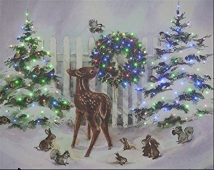 Christmas Led Canvas.Large Festive Christmas Light Up Led Canvas Picture Reindeer Fawn 50 X 40cm