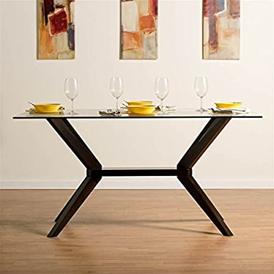 Aeon Furniture Greenwich Glass Top Dining Table in Rich Coffee - High Quality 10 mm Glass Top Solid Beech Wood Coffee Finished Base Comfortably Seats 6 People - kitchen-dining-room-furniture, kitchen-dining-room, kitchen-dining-room-tables - 51ylO243IfL. SS400  -