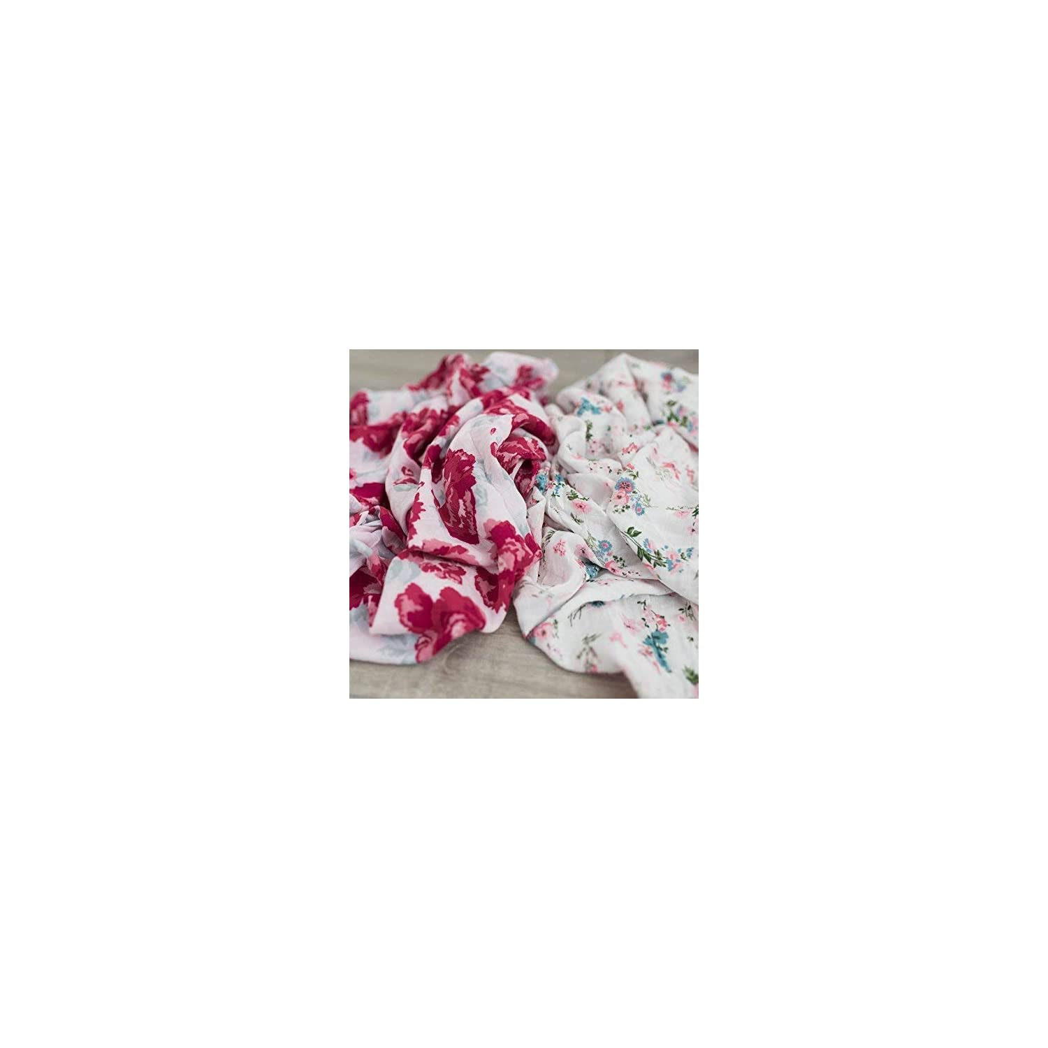 2 Pack Softest Bamboo Muslin Swaddle Blankets for Baby 70% Bamboo 30% Cotton XL 47″x 47″ by Graced Soft Luxuries (Floral Garden)