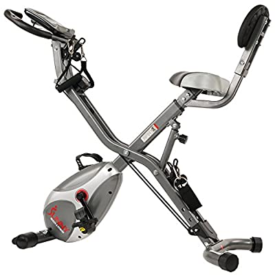 Sunny Health & Fitness Foldable Semi Recumbent Magnetic Upright Exercise Bike w/ Pulse Rate Monitoring, Adjustable Arm Resistance Bands and LCD Monitor