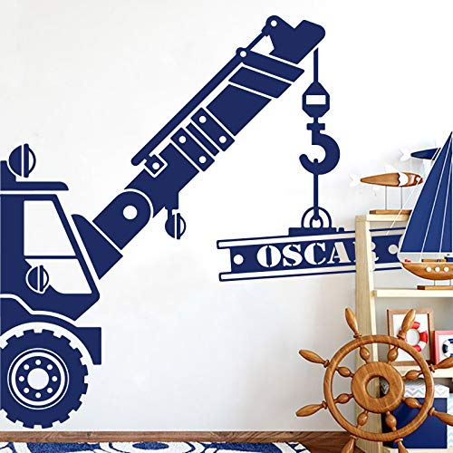 Andre Shop Personalized Name Construction Crane Truck Wall Decal - Custom Name Construction Vehicle Car Wall Sticker Decal Vinyl Art - Kids Room Nursery Custom Color