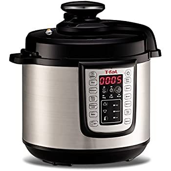 T-fal CY505E 12-in-1 Programmable Electric Multi-Functional Pressure Cooker with 25 Built-In Smart Programs / Ceramic Nonstick Cooking Pot and Stainless Steel Housing 1100-Watts, 6-Quart, Silver