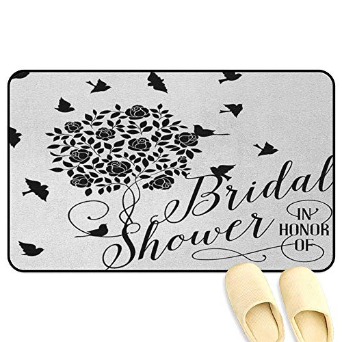 Bridal Shower Microfiber Absorbent Bath Mat Flowers Roses Leaves Swirls Birds Bride Party Theme Work of Art Print Black and White Hard Floor Protection W19 x L31 INCH