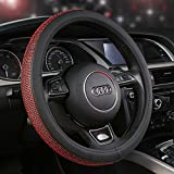 U&M Leather Steering Wheel Cover, Crystal Bling Bling Rhinestones Non-slip Women Steering wheel Protector Available for 38cm (Red)