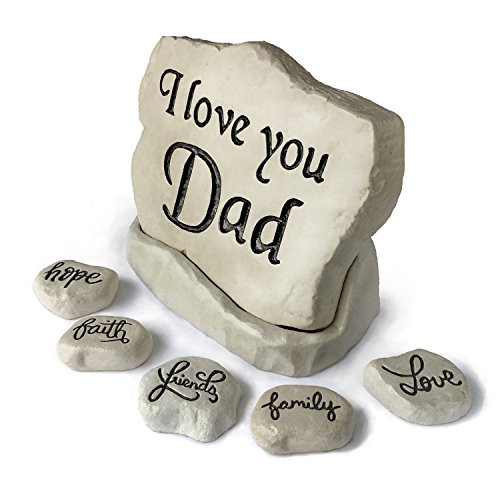 Love Stone Plaque - I Love You Dad Stone Bundle with Base Rock and 5 Pocket Size Inspiration Stones: Hope, Family, Friends, Love, and Faith (7 Stones Total)