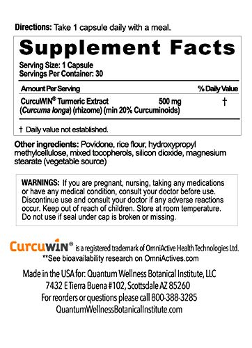 Curcumin 46x with Turmeric, Anti-Inflammatory, Anti-Oxidant with Curcuwin for 46X Higher Bioavailability for Better Absorption for Joint Pain Relief. Made in The USA (3 Bottles - 90 Capsules) by Quantum Wellness Botanical Institute (Image #2)