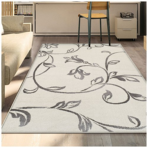 [Superior Vine Collection Area Rug, 6mm Pile Height with Jute Backing, Affordable and Contemporary Rugs, Beautiful Floral Vine Pattern - 8' x 10' Rug, Ivory with Black] (Vine Wool Area Rug)