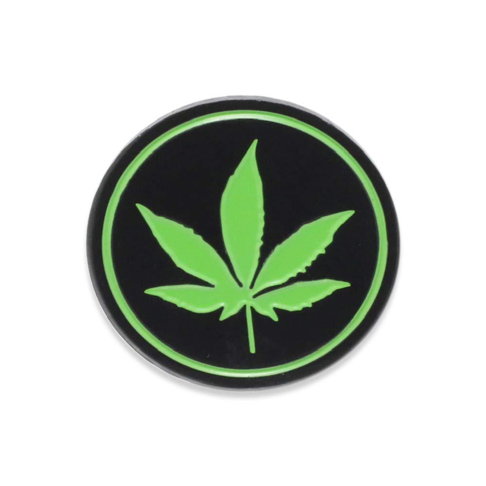 WIZARDPINS Round Marijuana Cannabis Leaf Black Circle Medical Symbol Weed Enamel Pin