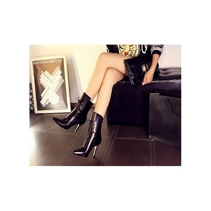 Tacco nero High-end Multa Con Da Appuntite In Scarpe Alto Stivali Donna 35 Dhg