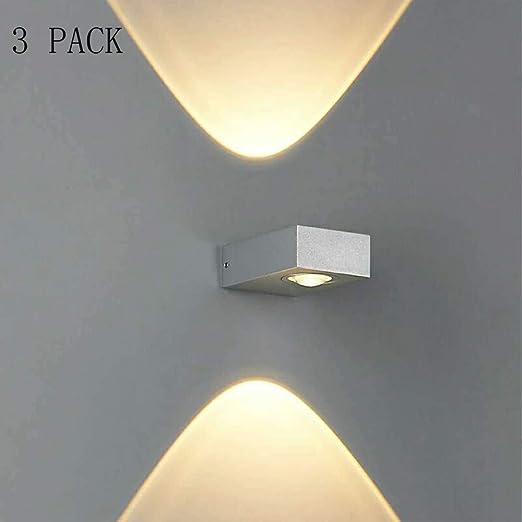 YNYKE LED Luz Pared 2X6w Aplique De Pared Interior Moderno Lámpara De Pared Iluminación Plateado Aluminio Para Escalera Pasillo Teatro Estudio Pasillo Pasillo Dormitorio, Blanco Cálido: Amazon.es: Iluminación