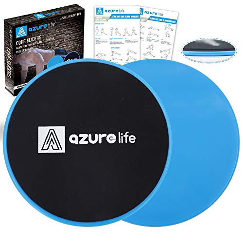 AZURE LIFE Exercise Core Sliders, 2 Pack Dual Sided Exercise Gliding Discs Use on All Surfaces, Light and Portable, Perfect for Abdominal&Core Workouts