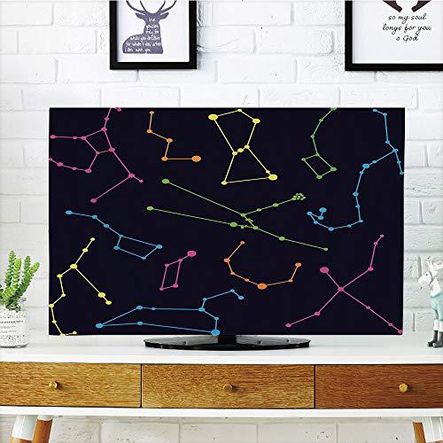iPrint LCD TV dust Cover,Constellation,Colorful Astronomic Illustration Science Ursa Major Minor Polaris Celestial,Multicolor,3D Print Design Compatible 42