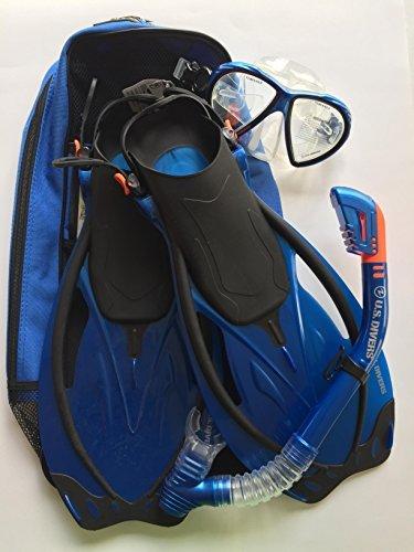 U.S. Divers LX Adult Snorkel Set, Gray, Fits S-M Sizes (Men 4-8.5, Women 5-9.5), PVC Mask, Universal Fit Fins, Splash-guard (Blue) by U.S. Divers