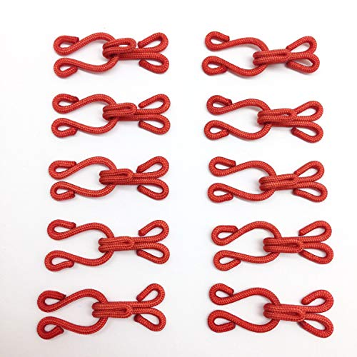 PEPPERLONELY 10PC/Set Red Large Covered Hooks & Eye Sewing Closure for Fur Coat Jacket Cape Stole Bracelet Jewelry Books Crafts and More, 35mm(1-3/8 Inch)